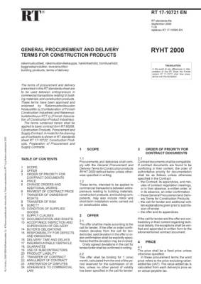RT 17-10721 en, General procurement and delivery terms for construction products RYHT 2000