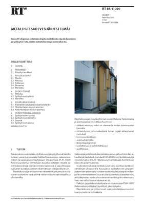 RT 85-11020, Metalliset sadevesijärjestelmät