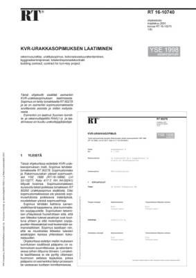 RT 16-10740, KVR-urakkasopimuksen laatiminen. (YSE 1998 asiakirjamalli)