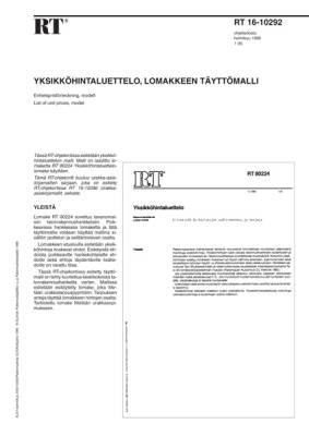 RT 16-10292, Yksikköhintaluettelo, lomakkeen täyttömalli