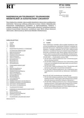 RT 02-10996, Rakennusalan toleranssit, toleranssien määritelmät ja suositeltavat lukuarvot