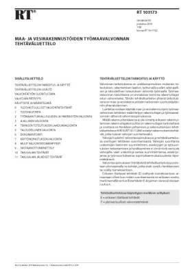 RT 103173, Maa- ja vesirakennustöiden työmaavalvonnan tehtäväluettelo