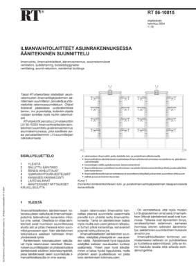 RT 56-10815, Ilmanvaihtolaitteet asuinrakennuksessa. Äänitekninen suunnittelu