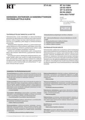 RT 10-11284, Hankkeen johtamisen ja rakennuttamisen tehtäväluettelo HJR18