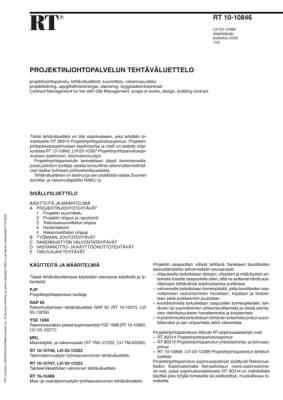 RT 10-10846, Projektinjohtopalvelun tehtäväluettelo