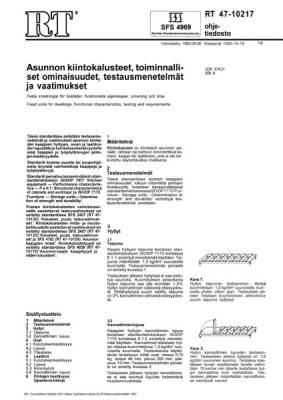 RT 47-10217, Asunnon kiintokalusteet, toiminnalliset ominaisuudet, testausmenetelmät ja vaatimukset