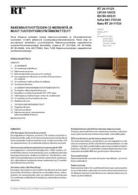 RT 20-11125, Rakennustuotteiden CE-merkintä ja muut tuotehyväksyntämenettelyt