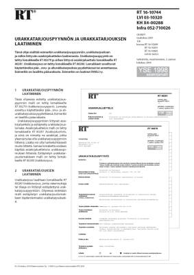 RT 16-10744, Urakkatarjouspyynnön ja urakkatarjouksen laatiminen (YSE 1998 asiakirjamalli)
