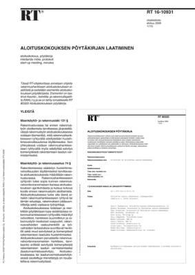 RT 16-10931, Aloituskokouksen pöytäkirjan laatiminen