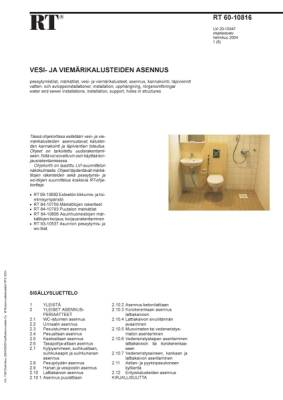RT 60-10816, Vesi- ja viemärikalusteiden asennus