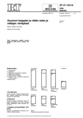 RT 47-10310, Asuntojen kaappien ja niiden osien ja mittojen nimitykset