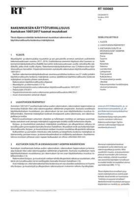 RT 103060, Rakennuksen käyttöturvallisuus. Asetuksen 1007/2017 tuomat muutokset