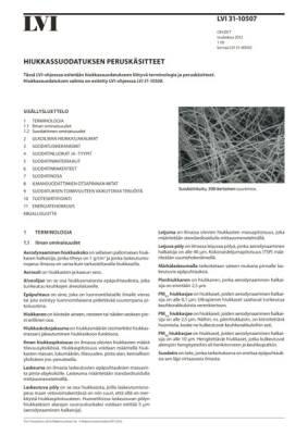 LVI 31-10507, Hiukkassuodatuksen peruskäsitteet