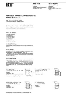 RT 47-10376, Asunnon kaapit, kaappityypit ja niiden sisusteet