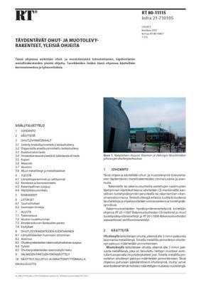 RT 80-11115, Täydentävät ohut- ja muotolevyrakenteet, yleisiä ohjeita