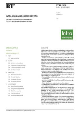 RT 10-11092, Infra 2011 Hankeosanimikkeistö