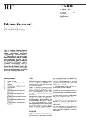 RT 02-10003, Rakennusmittaussanasto