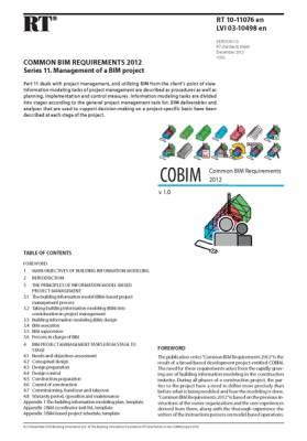 RT 10-11076 en, Common BIM Requirements 2012. Series 11. Management of a BIM project (Version 1.0, 2012)