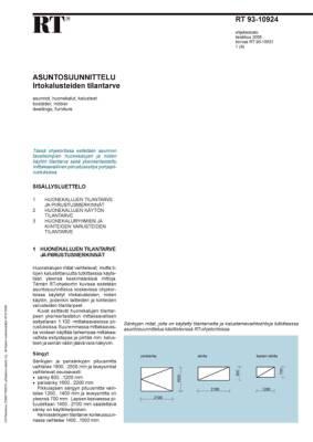 RT 93-10924, Asuntosuunnittelu. Irtokalusteiden tilantarve
