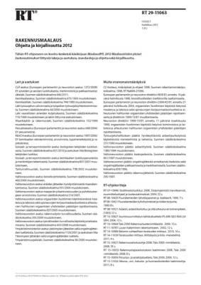 RT 29-11063, Rakennusmaalaus. Ohjeita ja kirjallisuutta 2012