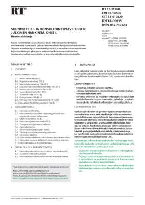RT 13-11268, Suunnittelu- ja konsultointipalveluiden julkinen hankinta, ohje 1. Hankintalakisarja