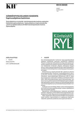 KH X4-00450, Isännöintipalveluiden hankinta. Sopimusohjelman laatiminen