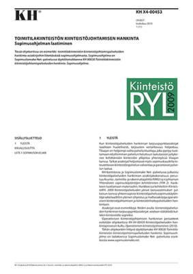 KH X4-00453, Toimitilakiinteistön kiinteistöjohtamisen hankinta. Sopimusohjelman laatiminen