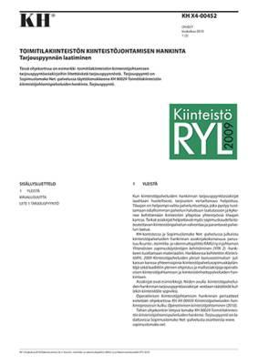 KH X4-00452, Toimitilakiinteistön kiinteistöjohtamisen hankinta. Tarjouspyynnön laatiminen