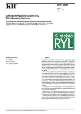 KH X4-00451, Isännöintipalveluiden hankinta. Palvelukuvauksen laatiminen