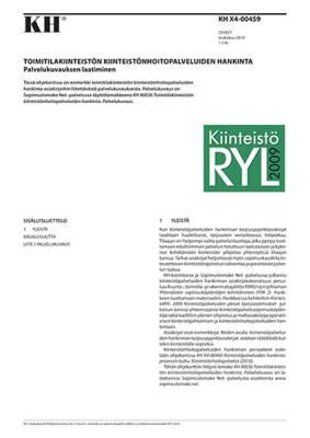 KH X4-00459, Toimitilakiinteistön kiinteistönhoitopalveluiden hankinta. Palvelukuvauksen laatiminen