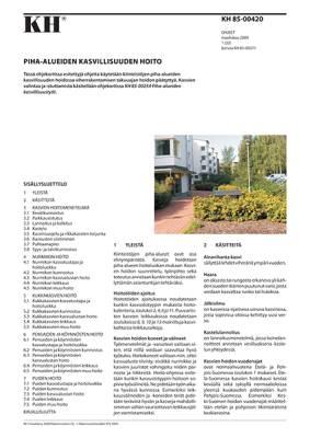 KH 85-00420, Piha-alueiden kasvien hoito