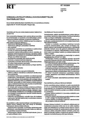 RT 103269, Uimahallin paloturvallisuussuunnittelun tehtäväluettelo