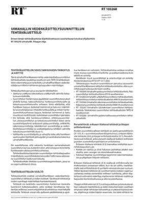 RT 103268, Uimahallin vedenkäsittelysuunnittelun tehtäväluettelo