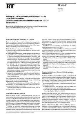 RT 103267, Uimahallin taloteknisen suunnittelun tehtäväluettelo. Taloteknisen suunnittelun tehtäväluettelon TATE18 soveltaminen