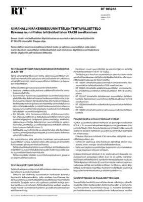 RT 103266, Uimahallin rakennesuunnittelun tehtäväluettelo. Rakennesuunnittelun tehtäväluettelon RAK18 soveltaminen