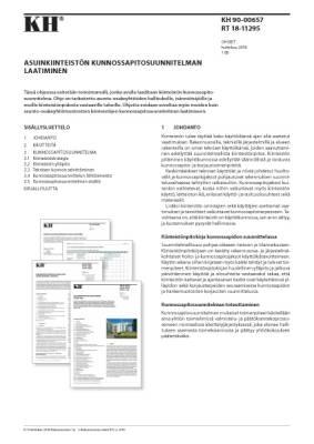 RT 18-11295, Asuinkiinteistön kunnossapitosuunnitelman laatiminen