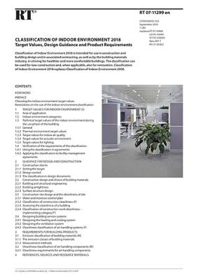 RT 07-11299 en, Classification of Indoor Environment 2018. Target Values, Design Guidance and Product Requirements