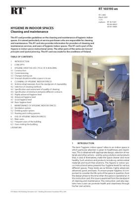 RT 103193 en, Hygiene in indoor spaces. Cleaning and maintenance